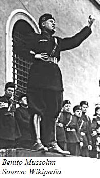 A picture of Italy's Fascist dictator Benito Mussolini